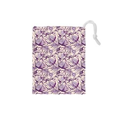 Vegetable Cabbage Purple Flower Drawstring Pouches (small)