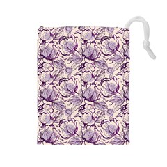 Vegetable Cabbage Purple Flower Drawstring Pouches (large)