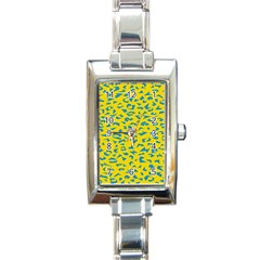 Blue Yellow Space Galaxy Rectangle Italian Charm Watch