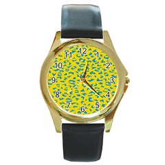 Blue Yellow Space Galaxy Round Gold Metal Watch