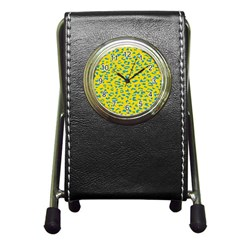 Blue Yellow Space Galaxy Pen Holder Desk Clocks
