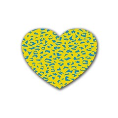 Blue Yellow Space Galaxy Rubber Coaster (heart)