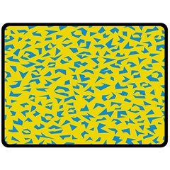 Blue Yellow Space Galaxy Fleece Blanket (large)