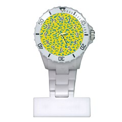 Blue Yellow Space Galaxy Plastic Nurses Watch