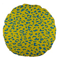 Blue Yellow Space Galaxy Large 18  Premium Flano Round Cushions