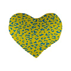 Blue Yellow Space Galaxy Standard 16  Premium Flano Heart Shape Cushions