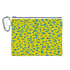 Blue Yellow Space Galaxy Canvas Cosmetic Bag (l)