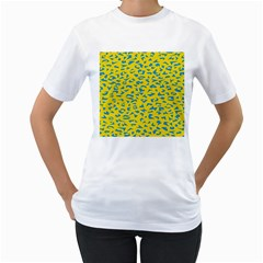 Blue Yellow Space Galaxy Women s T Shirt (white) (two Sided)