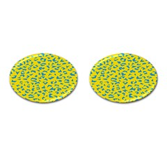 Blue Yellow Space Galaxy Cufflinks (oval)