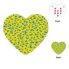 Blue Yellow Space Galaxy Playing Cards (heart)