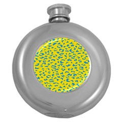 Blue Yellow Space Galaxy Round Hip Flask (5 Oz)