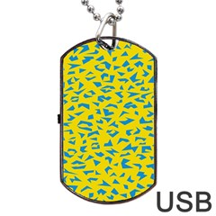 Blue Yellow Space Galaxy Dog Tag Usb Flash (two Sides)