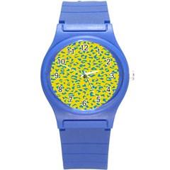 Blue Yellow Space Galaxy Round Plastic Sport Watch (s)
