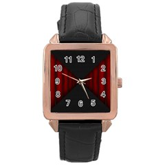 Black Red Door Rose Gold Leather Watch