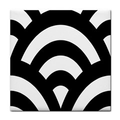Circle White Black Tile Coasters