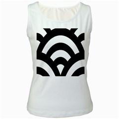 Circle White Black Women s White Tank Top