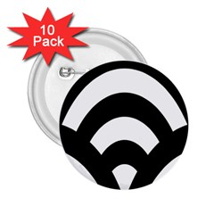 Circle White Black 2 25  Buttons (10 Pack)