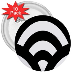 Circle White Black 3  Buttons (10 Pack)