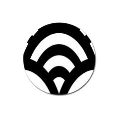 Circle White Black Magnet 3  (round)