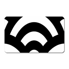 Circle White Black Magnet (rectangular)