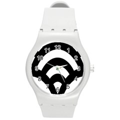 Circle White Black Round Plastic Sport Watch (m)