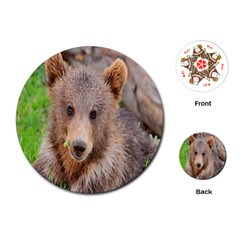 Baby Bear Animals Playing Cards (round)