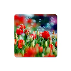 Colorful Flowers Square Magnet