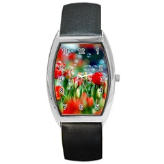 Colorful Flowers Barrel Style Metal Watch