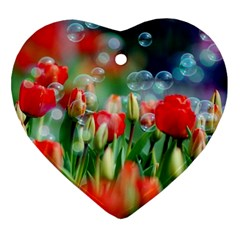 Colorful Flowers Heart Ornament (two Sides)
