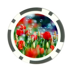 Colorful Flowers Poker Chip Card Guard