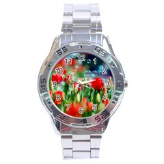 Colorful Flowers Stainless Steel Analogue Watch