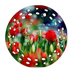 Colorful Flowers Round Filigree Ornament (two Sides)