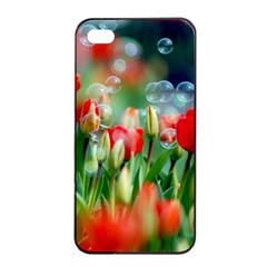 Colorful Flowers Apple Iphone 4/4s Seamless Case (black)
