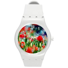 Colorful Flowers Round Plastic Sport Watch (m)