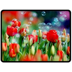 Colorful Flowers Double Sided Fleece Blanket (large)