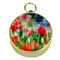 Colorful Flowers Gold Compasses