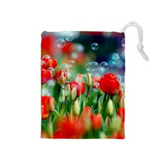 Colorful Flowers Drawstring Pouches (medium)