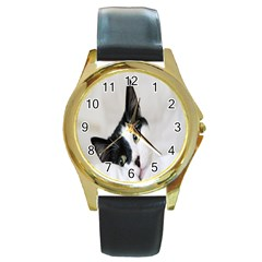 Cat Face Cute Black White Animals Round Gold Metal Watch