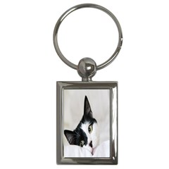 Cat Face Cute Black White Animals Key Chains (rectangle)