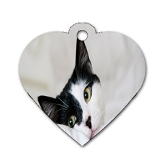 Cat Face Cute Black White Animals Dog Tag Heart (two Sides)