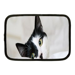 Cat Face Cute Black White Animals Netbook Case (medium)