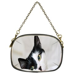 Cat Face Cute Black White Animals Chain Purses (one Side)