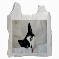 Cat Face Cute Black White Animals Recycle Bag (two Side)
