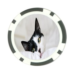 Cat Face Cute Black White Animals Poker Chip Card Guard (10 Pack)