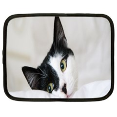 Cat Face Cute Black White Animals Netbook Case (xl)