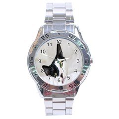 Cat Face Cute Black White Animals Stainless Steel Analogue Watch