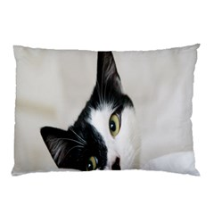 Cat Face Cute Black White Animals Pillow Case (two Sides)
