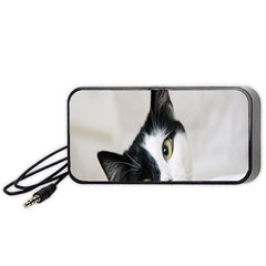 Cat Face Cute Black White Animals Portable Speaker (black)