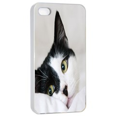 Cat Face Cute Black White Animals Apple Iphone 4/4s Seamless Case (white)