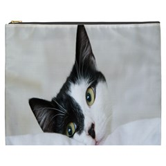 Cat Face Cute Black White Animals Cosmetic Bag (xxxl)